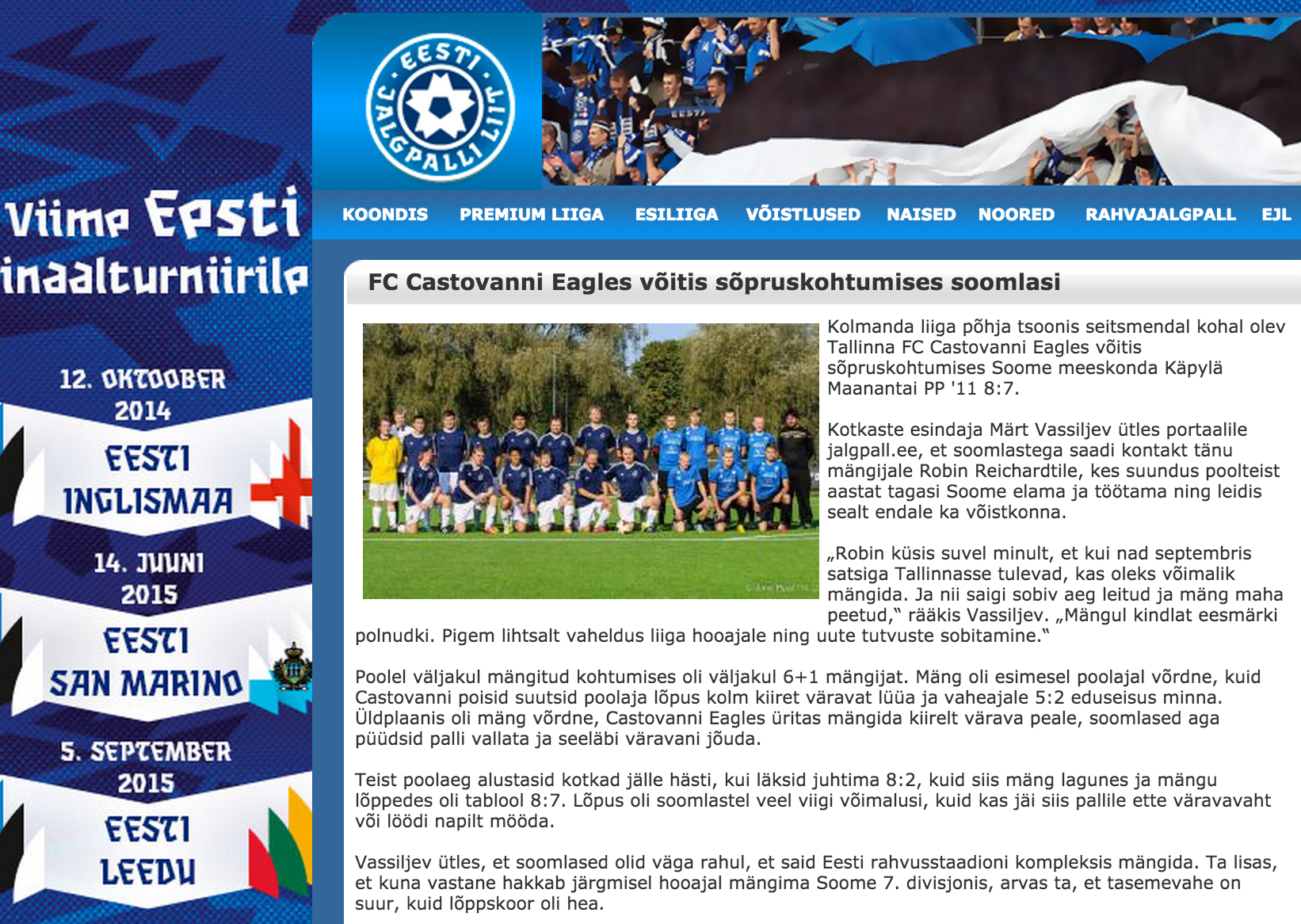 KMPP featured on Estonian Football Association's website
